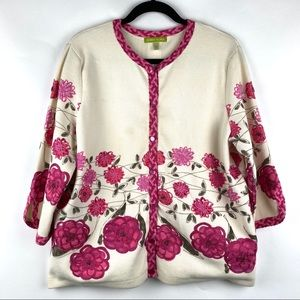 SIGRID OLSEN Embroidered Flower Cardigan